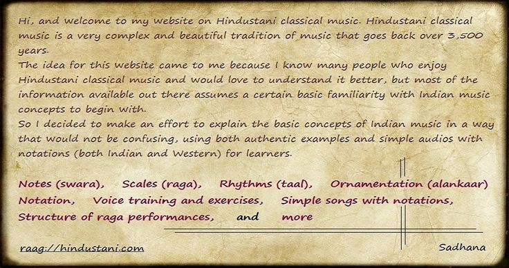 For Learners of Indian Classical Music - Sadhana's Raag-Hindustani
