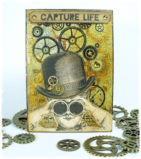 MAXymalnie Papierowo, Steampunk ATC, handmade, cardmaking, arts and crafts, scrapbooking, mixed media, papercraft, scrap, gelli plate,
