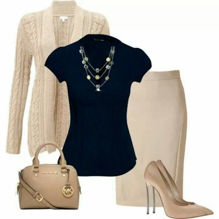 Love the top, sweater, and necklace. Would wear pants instead of skirt and flats  instead of heels