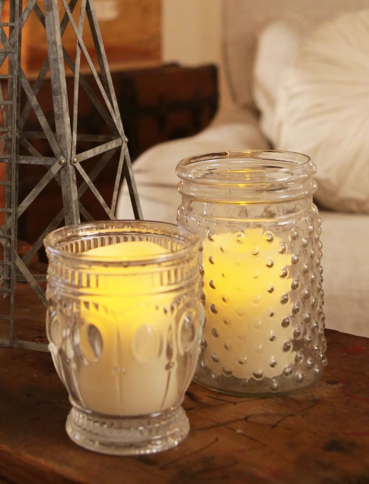 farmhouse EMBOSSED GLASS or VOTIVE holder - Junk GYpSy co.
