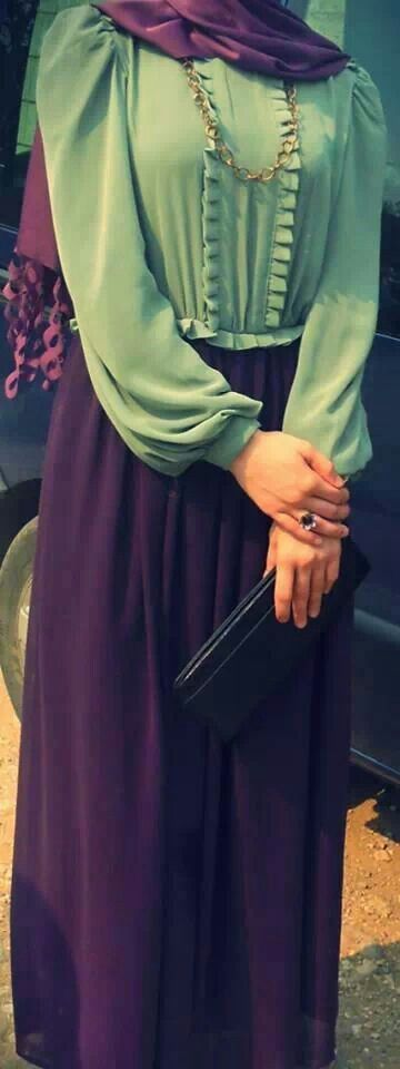 Purple and green Hijab style