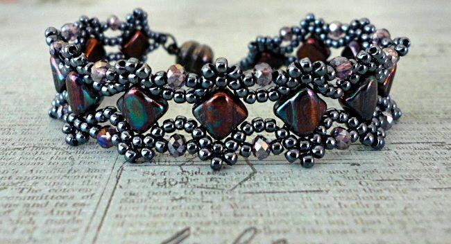 Linda's Crafty Inspirations: Bracelet of the Day: Esther Silky Bracelet - Hematite & Amethyst