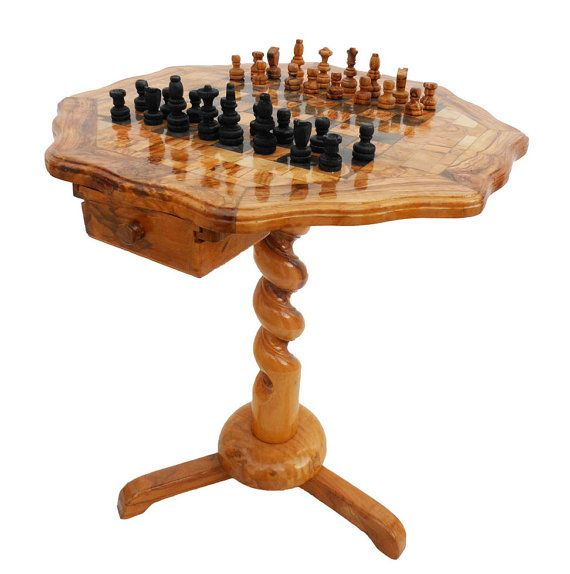 Olive Wood Unique Rustic Chess Set Table 18 Inch Wooden
