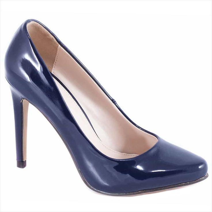 Pantofi navy cu toc 51598N - Reducere 60% - Zibra