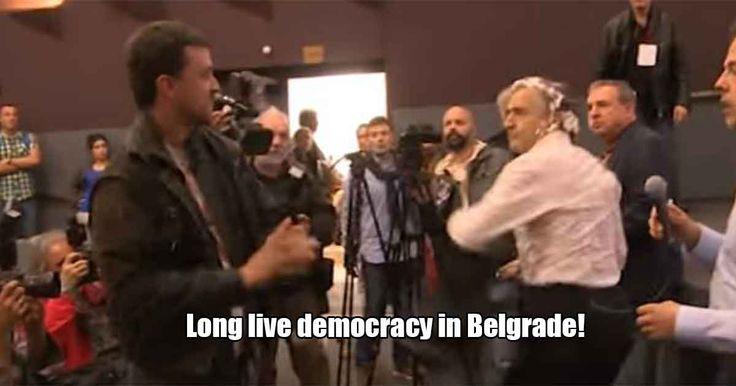 """Murderer, leave Belgrade! Bernard Levy advocates imperialist murders!"" - Jewish French philosopher gets pied in face in Belgrade - VIDEO Belgrade, Serbia"