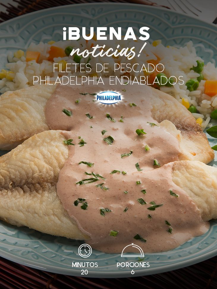 Celebra los buenos momentos con unos Filetes de pescado Philadelphia endiablados.  #recetas #receta #quesophiladelphia #philadelphia #crema #quesocrema #queso #comida #cocinar #cocinamexicana #pescado #filetedepescado #recetaspescado #salsa #huachinango