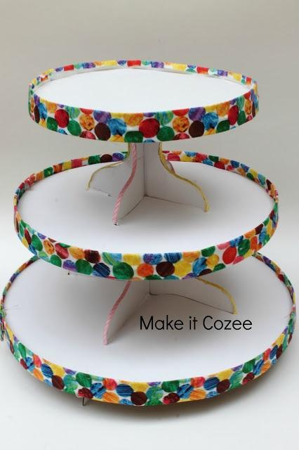 DIY Very Hungry Caterpillar cupcake stand and cupcake idea