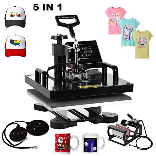"""Superland 5 in 1 Multifunction Sublimation Heat Press Machine T shirts Hat Mug Cap Heat Press 15 X 15 Inch (5 in 1: 15""""x15"""")  Heat press machine voltage:110v/power:1000 w; Full 360-degree rotation of swing-away design  Heat press with 5 heating elements of varying size: Platen press: 15"""" x 15""""; Hat/Cap press: 6"""" x 3"""" (curved); Mug Press: 3""""-3.5"""" diameter (11OZ); Plate Press #1: 5"""" max diameter; Plate Press #2: 6"""" max diameter  Heat press with 2 4/5"""" long arm handle, bold handle easy to..."""