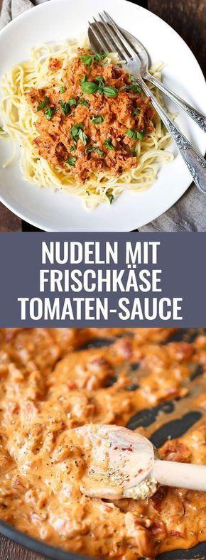 Pasta mit Frischkäse und Tomatensauce   – Kochrezepte