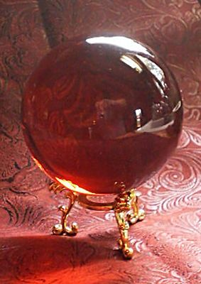 """2 3/4"""" Garnet Red Crystal Ball with Gold Dragon Stand Wicca Witchcraft Scrying"""