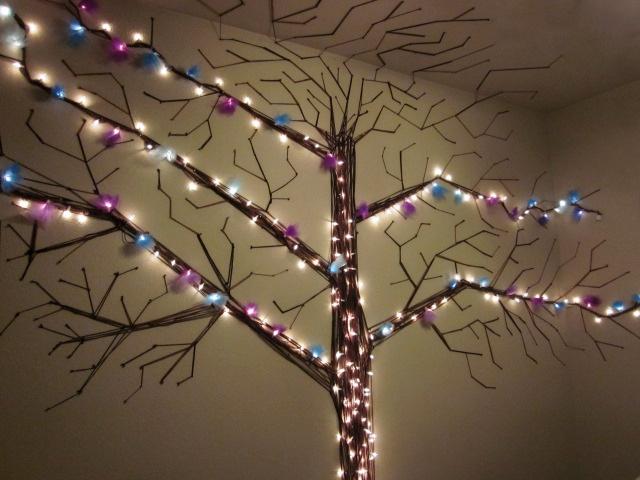 Tree Made With Yarn Christmas Lights Amp Tulle Wall Decor