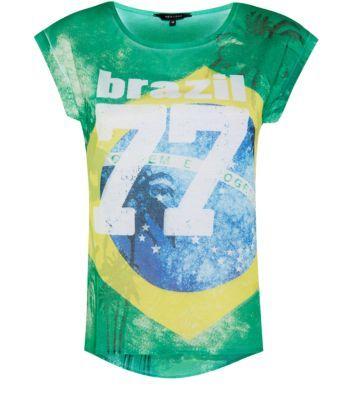 Green Brazil Palm Tree Print T-Shirt