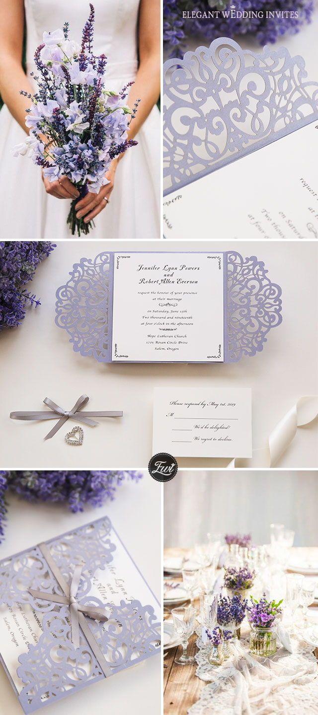 romantic lavender laser cut wedding invitations with grey ribbon bows EWWS124
