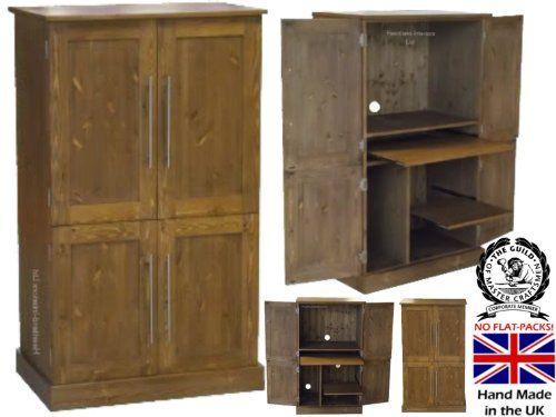 Solid Pine Desk, 4 Door Computer Workstation, Hideaway, Hidden Home Office  Cabinet,
