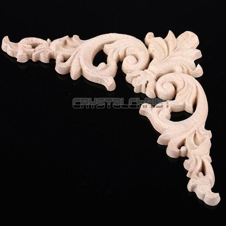 Unpainted Wood Oak Carved Corner Onlay Applique Furniture Home Decor 11.5x11.5cm #Unbranded