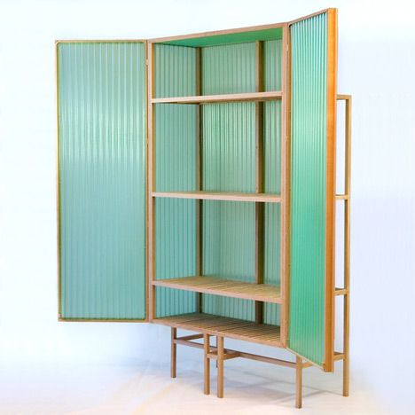 PVC --- Sine Cabinet by Dik Scheepers. Made of oak and translucent corrugated PVC. Inspiration for upcycle