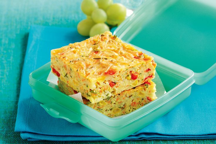 Zucchini and noodle slice. Think outside the (lunch) box with this exciting idea. Packed with vegies and noodles, this tasty slice is a square meal just right for the midday munch rush.
