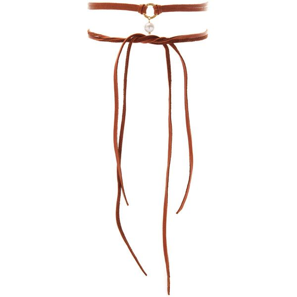 Chan Luu Women's Leather & Pearl Choker - Brown (615 MXN) ❤ liked on Polyvore featuring jewelry, necklaces, brown, pendant necklace, long necklace, brown leather necklace, leather choker and pearl choker