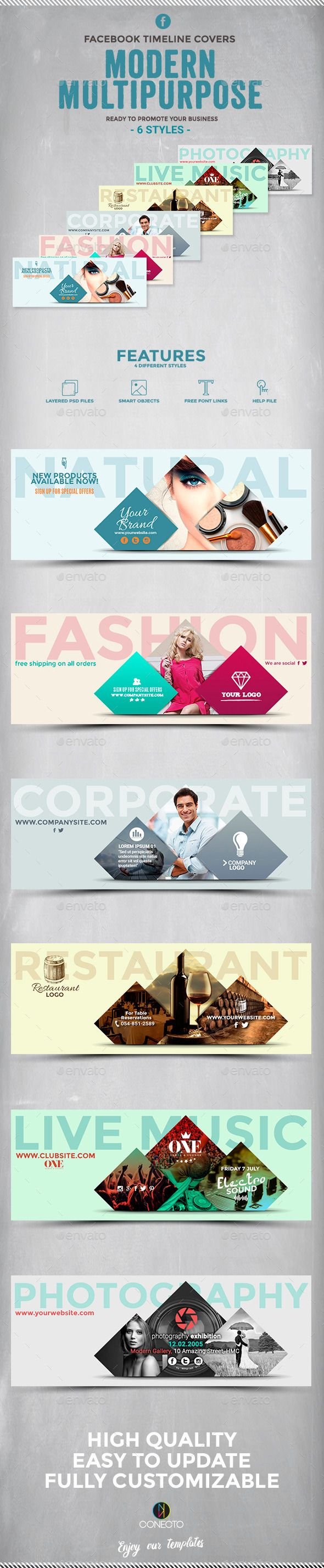 Facebook Timeline Covers - Modern Multipurpose Template #design Download: http://graphicriver.net/item/facebook-timeline-covers-modern-multipurpose/12312225?ref=ksioks