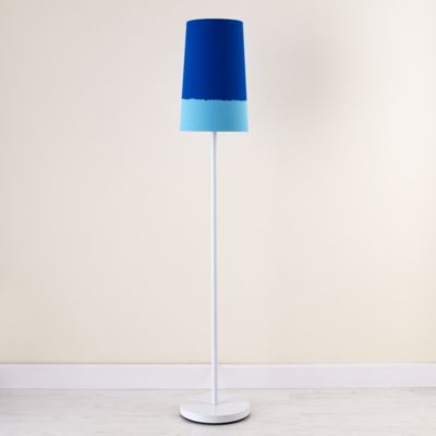 Kids Lighting: Kids White Floor Lamp and Blue Two-Tone Shade From The Home Decor Discovery Community At www.DecoandBloom.com