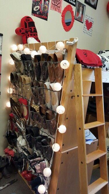Dorm room tip: hang over the door shoe racks from lofted dorm bed or bunk beds