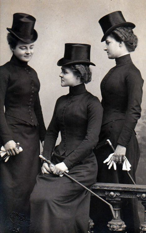 heracliteanfire:  Ladies in riding habits, c 1900