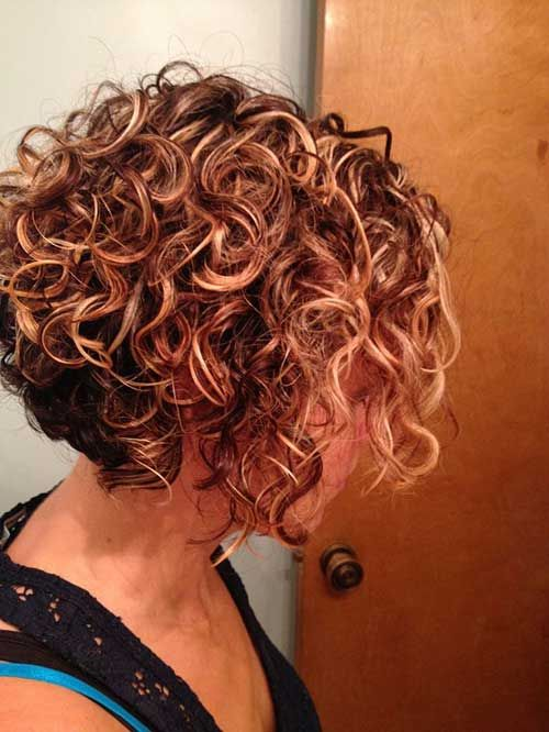 Short Stacked Bob Hairstyle for Fine Curly Hair