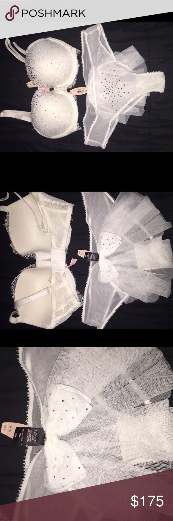 Victoria secret Bridal bra and panti 😍😍 Limited edition matching bra and Panty. completely new with tag. Came out at the Victoria's Secret fashion show '14  definitely a collector     Size 34dd / M PINK Victoria's Secret Intimates & Sleepwear Bras