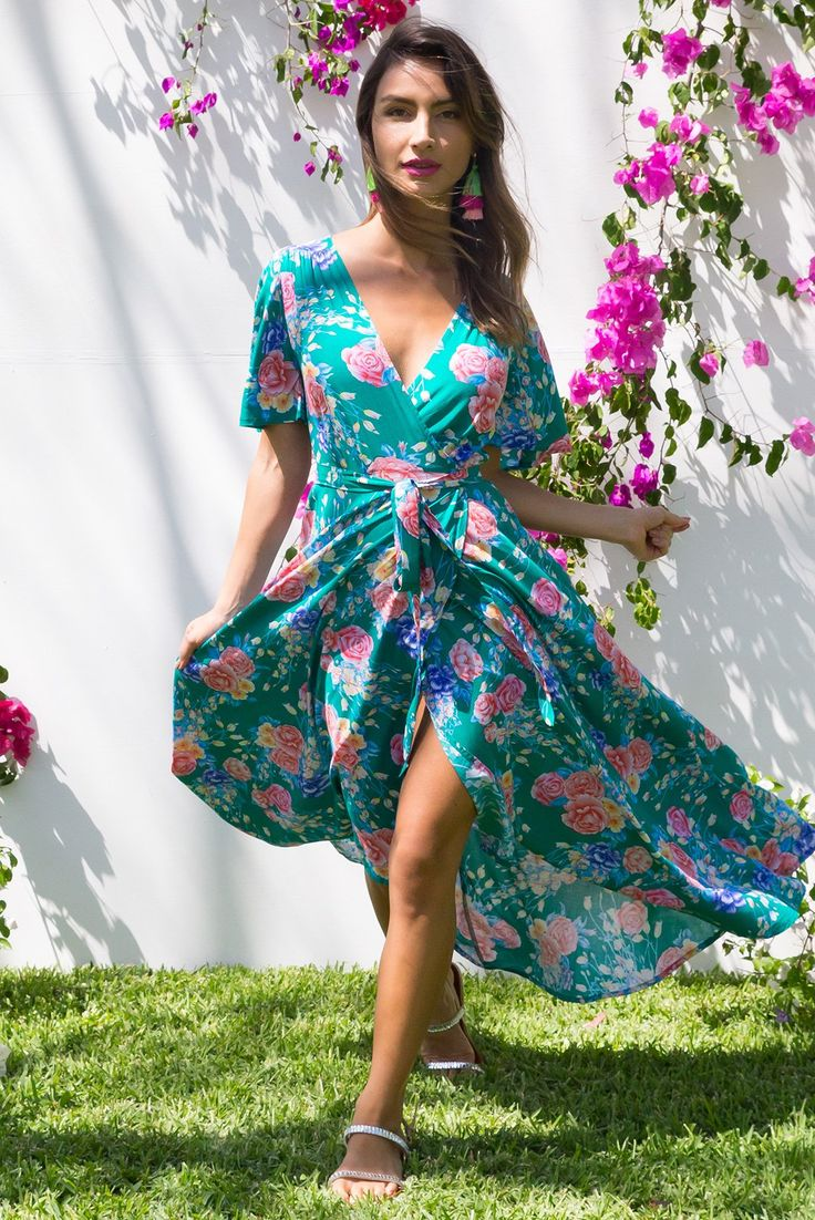 Petal Oriental Green Garden Maxi Wrap dress with flutter sleeves in a bright floral print