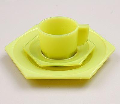 Yellow pressed glass petit déjeuner breakfast plate and cup saucer design H.P.Berlage Piet Zwart 1924 executed by Glasfabriek Leerdam / the Netherlands