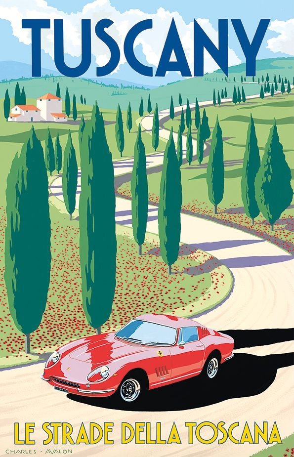 Italy Travel Inspiration - PEL324: 'Ferrari 275 GTB/4 - Tuscany' by Charles Avalon - Vintage travel posters - Art Deco - Pullman Editions