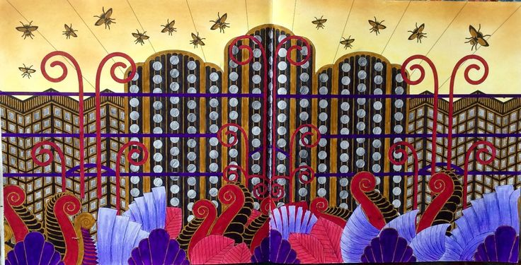 Dream Cities or Splendid Cities by Alice Chadwick. This is Art Deco coloured by Prue Jack.
