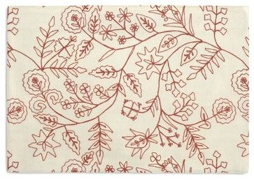 Red Stitch-Embroidered Floral Custom Placemat Set traditional-placemats
