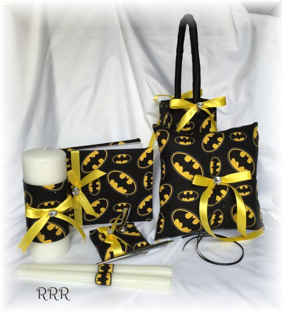 Batman Wedding Unity Candle Set Black and Yellow by RammaRuRu