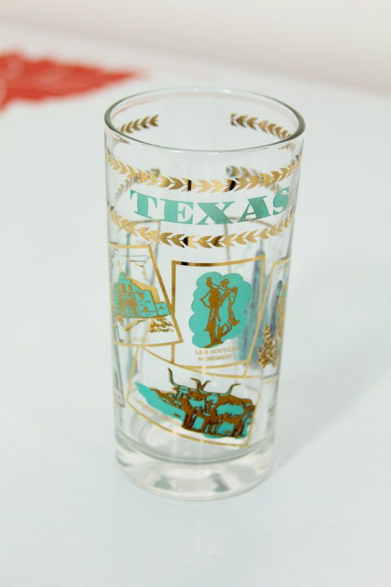 Vintage Texas Tourism Glass Mid Century by foundundertheeaves, $15.00