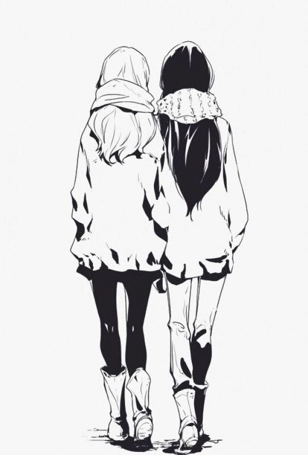 Scarves Leggings Boots Animedrawing Anime Drawing Black And White Anime Best Friends Friend Anime Drawings Of Friends