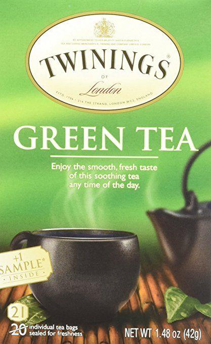 Twinnings Green Tea, 1.48 Ounce Box 20 individual tea bags with 1 sample tea bag