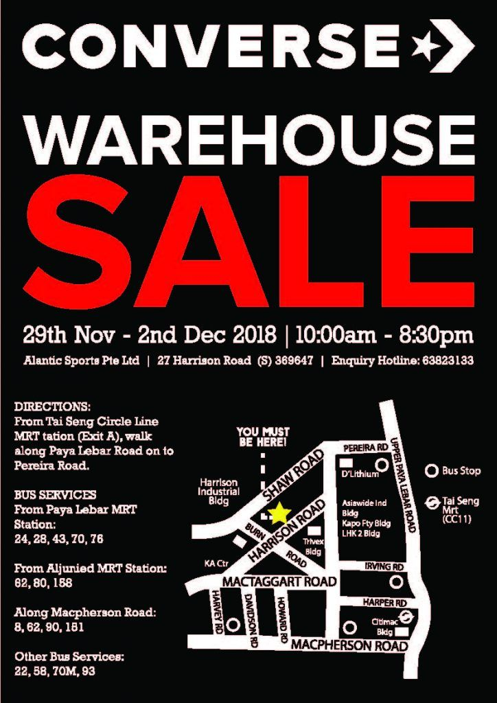 Converse Singapore Warehouse Sale From 29 Nov 2 Dec 2018 Warehouse Sales Converse Sale