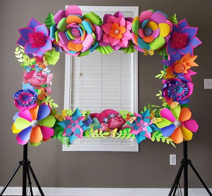 Trolls photo frame paper flower backdrop. Follow me on Facebook @https://m.facebook.com/simplylavishevent/ or @simplylavishevent on Instagram
