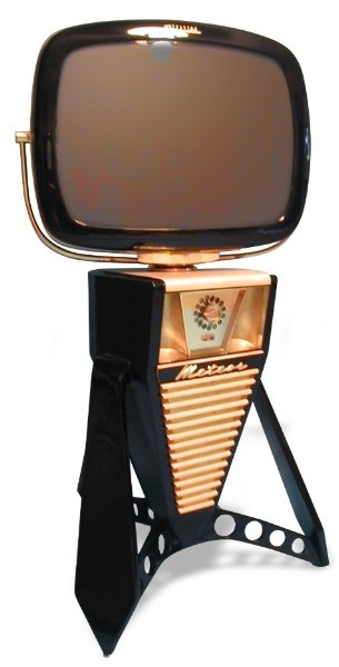 This very unique TV combines art deco design with modern technology. The hardwood cabinet and leg accessories are finished in hand-rubbed black lacquer, which beautifully complements the maple wood top. The screen's collar is brass and the monitor's size is 24 inches. A remote control is included. Home cable, satellite, DVDs and video games are all compatible.