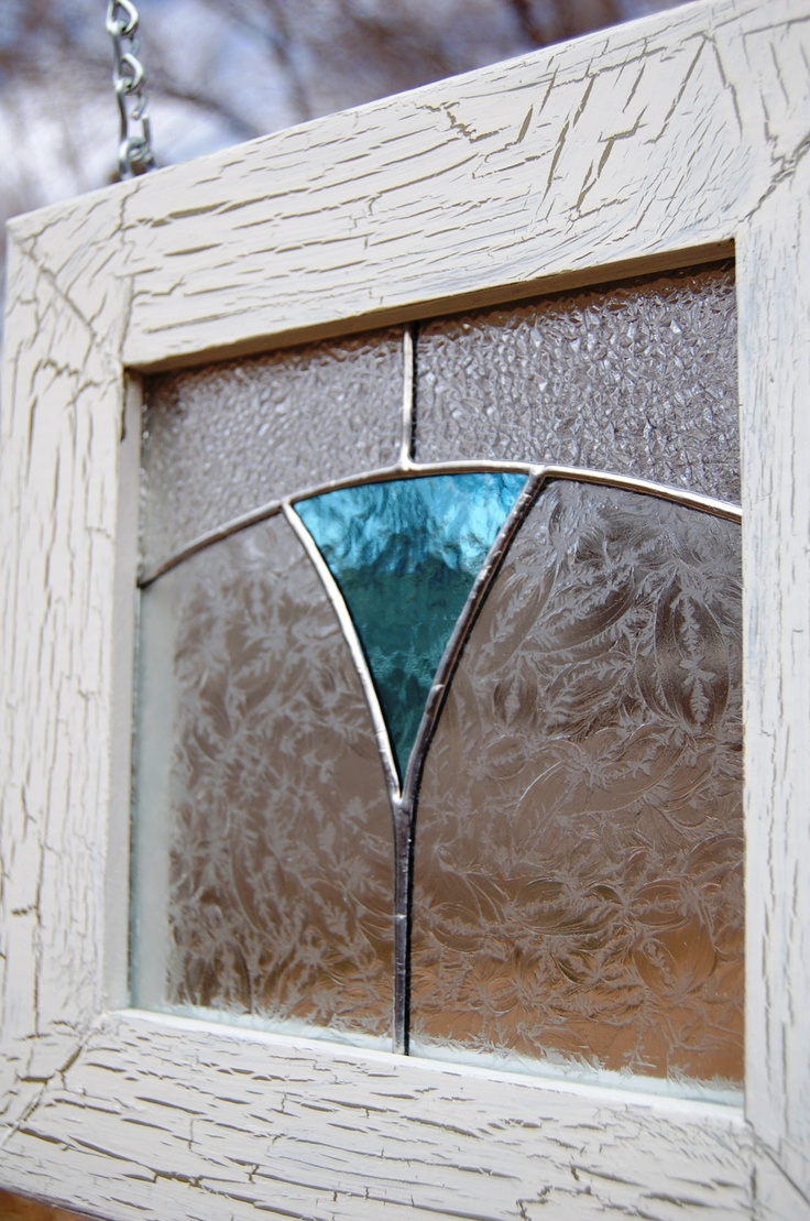 Stained Glass Panel Rustic Crackle Wooden Frame by PotterybyDan, $39.00