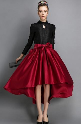 Love this Skirt! Love the Color! Love the Bow! Red High Low Bow Belted Skirt