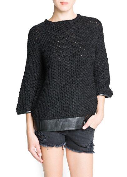 MANGO - Jersey lana detalles efecto piel