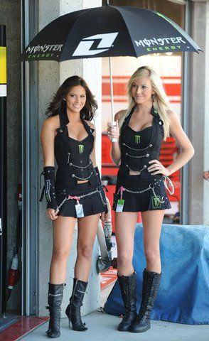 Publicity baes for monster energy drink at a Nascar stand - See this image on Photobucket.