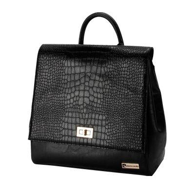 Pierre Carding Black Patent Snake Skin Backpack