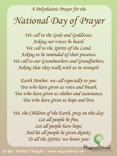A Polytheistic Prayer for the National Day of Prayer by Rev. Michael J Dangler