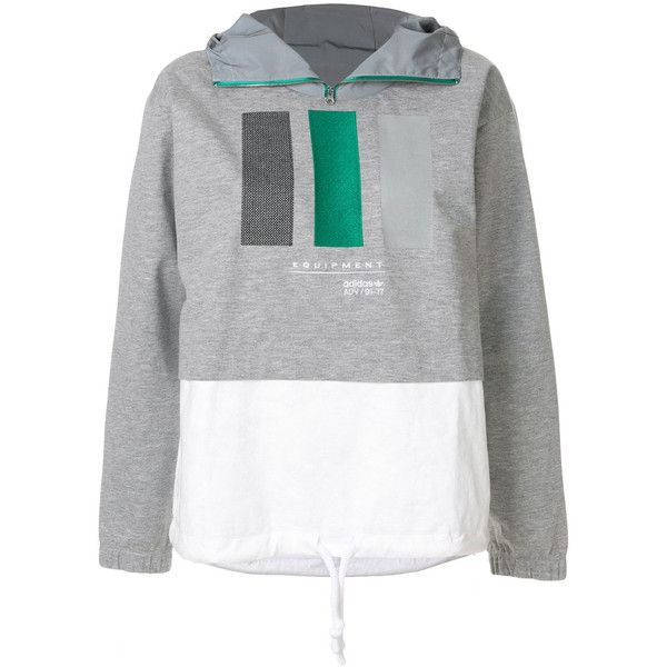 Adidas Originals EQT Windbreaker jacket ($163) ❤ liked on Polyvore featuring activewear, activewear jackets, grey, adidas activewear, adidas, retro sportswear and adidas sportswear