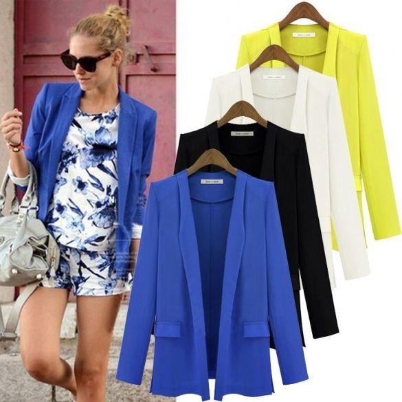 Fashion Unique Women OL Solid Slim Fold Sleeve Suit Blazer Coat Jacket S-L