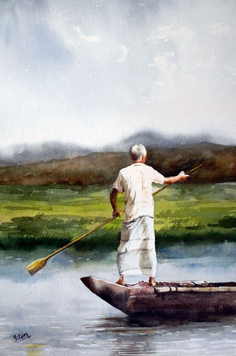 Indian Artist- Jitendra Sule's Watercolour Paintings: A Sailor