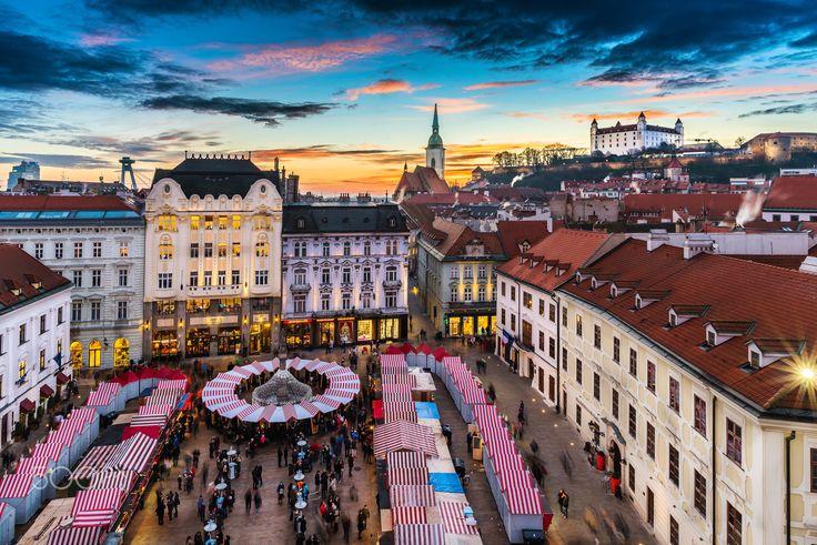 Farewell to Christmas market - My farewell shot of Christmas market on the Main square in Bratislava, Slovakia.